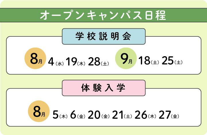オープンキャンパス日程8/4〜9/29
