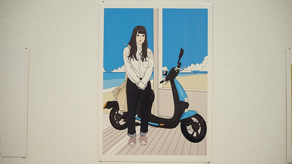 バイクと女の子のイラスト